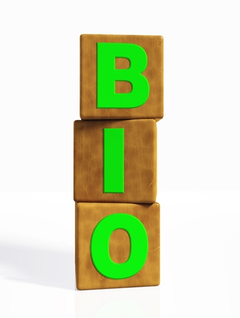 disposition: bio word composed from green letters on cubes made of wood, placed in a vertical position on a white background
