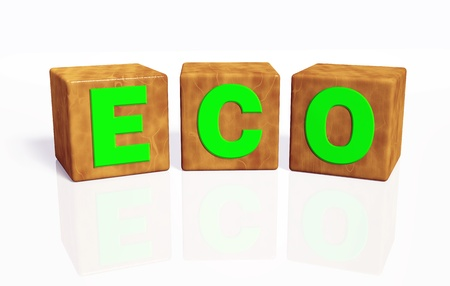 eco word composed from green letters on cubes made of wood, placed in rounded position on a white background