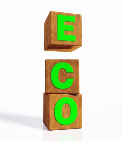disposition: eco word composed from green letters on cubes made of wood, placed in vertical position on a white background  And the cube with the letter E is suspended and detached from the other two Stock Photo
