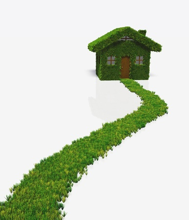 reaches: a grassy path reaches a small house that has the whole walls and roof covered by lawn except the door, windows and chimney  On a white background