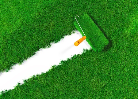 spring roll: a top view of a paint roller with an orange handle that is finishing to paint a white ground using lawn instead a colour