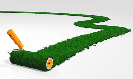 a paint roller with an orange handle, is painting a grassy path on a white ground using lawn instead a colour
