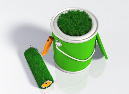 a grassy paint roller rests to a uncovered pot with its orange handle, and you can see some green lawn that appears from the aperture of the pot  On a white background