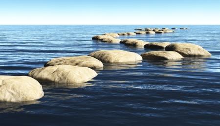 een pad gemaakt van stenen die blijven boven de oppervlakte van diep water, slingert naar een onbekende bestemming in een zonnige dag