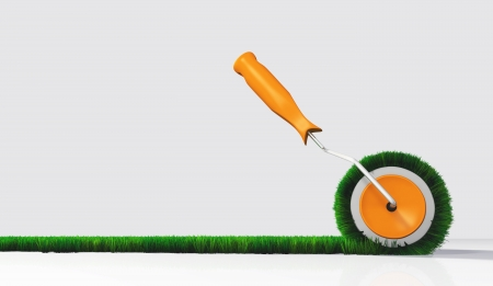 spring roll: a side view of a paint roller with an orange handle, that is painting a grassy strip on a white ground using lawn as colour