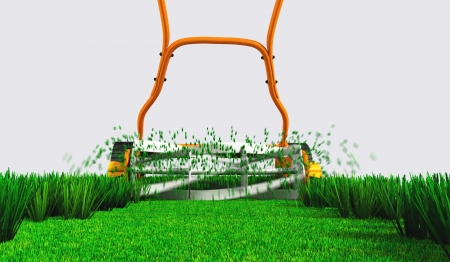 a back bottom view of an orange push lawn mower in movement that is cutting the grass along a straight strip of green lawn on a white background Stock Photo