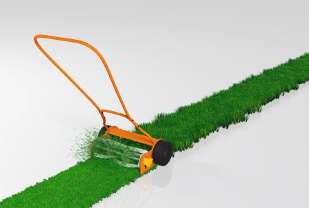 garden maintenance: an orange push lawn mower is cutting the grass along a straight strip of green lawn on a white background
