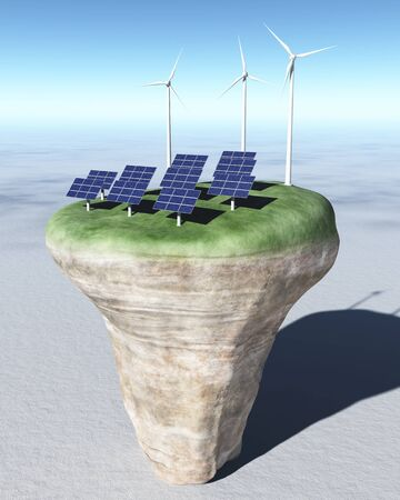 view of a rocky and circular terrain on a desert where are placed on its grassy top, some rows of solar panels and three wind generators behind them, all on a background desert and a clear blue sky