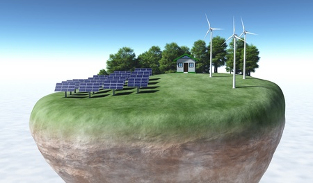 view of a top portion of a rocky and circular terrain where a small house is placed on top of a grassy hill and has rows of solar panels on the left, wind generators on the right and some trees behind them, all on a background desert and a blue sky photo