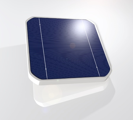 closeup of a tilted and suspended solar cell that has the sun reflected on its top right corner, on a white background Stock Photo