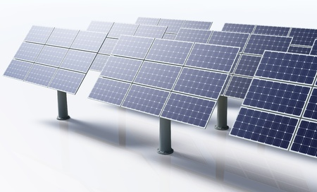 a row of a solar panels all the same oriented and fixed to the ground by metal pile, in a bright day on a white background photo