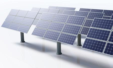 een rij van zonnepanelen toch georiënteerd en de grond door metalen paal vastgesteld in een heldere dag op een witte achtergrond