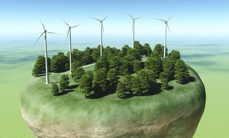 airscrew: view of a top portion of a rocky and circular terrain where are placed a row of wind generators on top of a grassy hill in the middle of some trees, all on a green ground and a blue sky Stock Photo