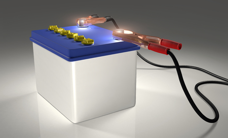 a white car battery with blue cover and terminals with cables on the contacts  Light from the poles positive and negative simulates energy power