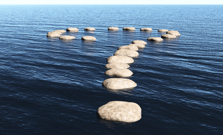 a path in the shape of question mark made of stones above the surface of deep water, in a sunny day