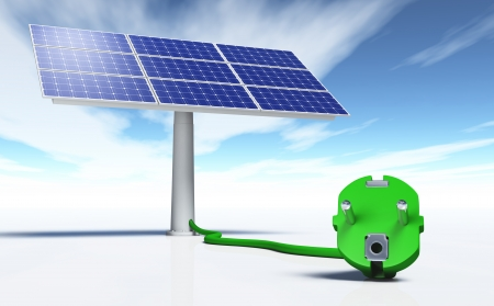 closeup of a green plug connected with a green wire to a solar panel, on a white ground and a blue sky with some clouds