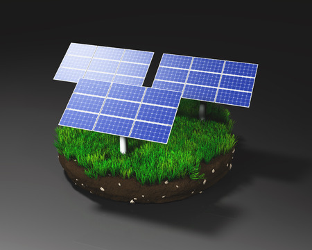 three solar panels on a grassy round clod of earth isolated on a dark background  photo