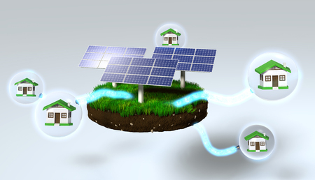 clod: three solar panels on a grassy rounded clod of earth are supplying homes inside of the spheres, with some energy beams