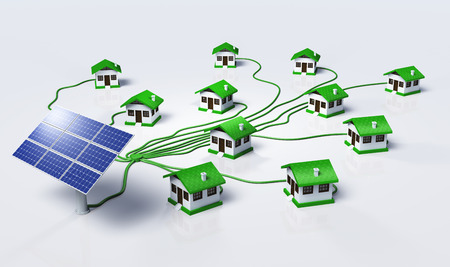 Some solar panels are supplying small homes by connecting them with green cables, on a white background