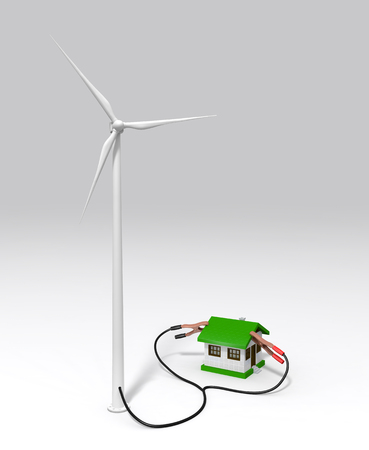 a wind generator is supplying energy to a small house with two terminals connected on the roof  On a white ground