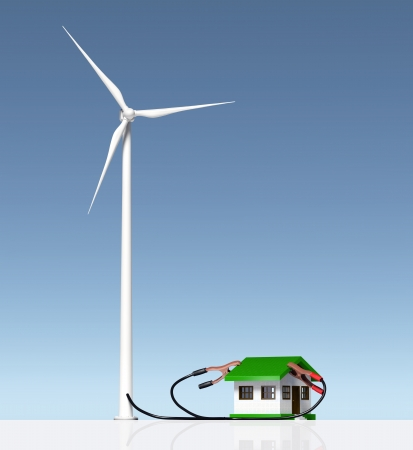 front view of a wind generator that is supplying energy to a small house with two terminals connected on the roof  On a white ground and a blue sky