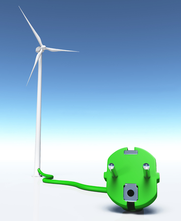 airscrew: closeup of a green plug connected with a green wire to a wind generator, on a white ground and a blue sky