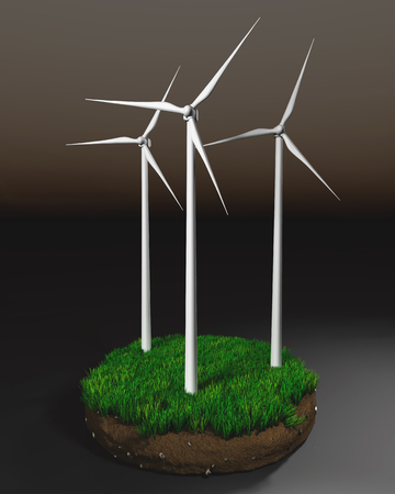 clod: three wind generators on a grassy round clod of earth isolated on a dark background