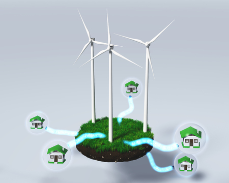 clod: three wind generators on a grassy rounded clod of earth are supplying homes inside of the spheres, with some energy beams