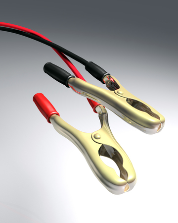 pincers: closeup of a couple of pincers of a battery cables with black and red handles and wires, on a white and gray background