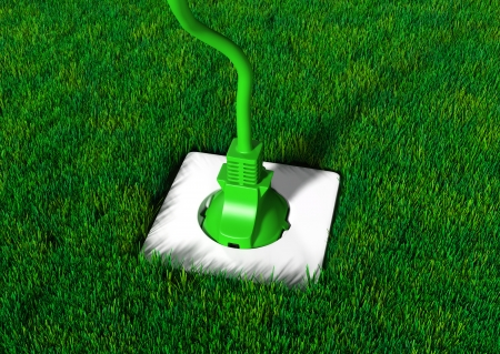 a green plug is connected into a white socket in a meadow of short grass