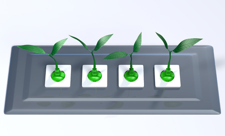 four green plugs with the cables that take the form of small plants are inserted into sockets placed in a lucid grey support panel, on a white background