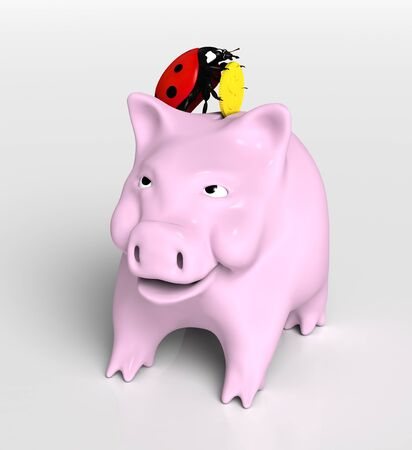view of a ladybug on top of a piggy bank that stands up and puts a golden coin into its slot, on a neutral background