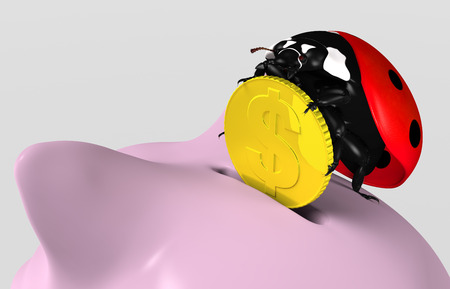 closeup of a ladybug on top of a piggy bank that stands up and puts a golden coin into its slot, on a neutral background