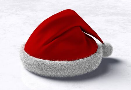 side view of a Santa Claus red hat placed on a white and grey abstract ground