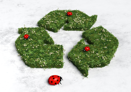 recycling symbol covered by grass and flowers with three ladybugs on it and a big one below it, all on a white and grey abstract ground