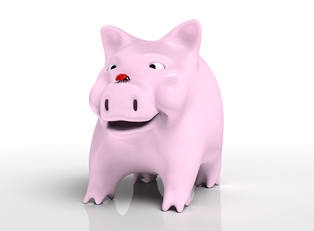 front view of a smiling piggy bank that watches a red ladybird which stands on top of its nose, on a neutral background