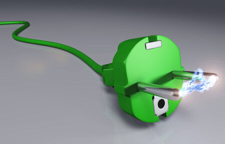 electrocution: closeup of a ecological green plug with a high voltage arc between its pins Stock Photo