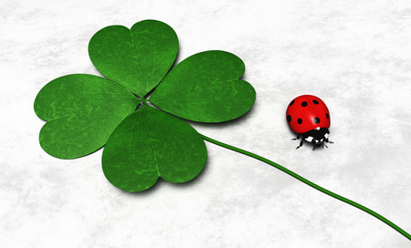a green four-leaf clover is lying near a ladybug on a white and grey abstract ground