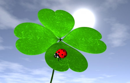 closeup of four-leaf clover that has a red ladybird on one leaf, with the sun and some clouds in the sky behind it on the background