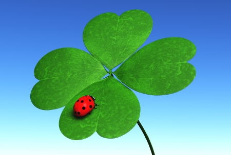 closeup of four-leaf clover that has a red ladybug on one leaf, with a blue sky on the background