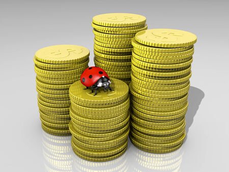 a closeup of four stacks with different heights of shiny golden coins with symbol of the dollar, and a ladybug on top of the front one