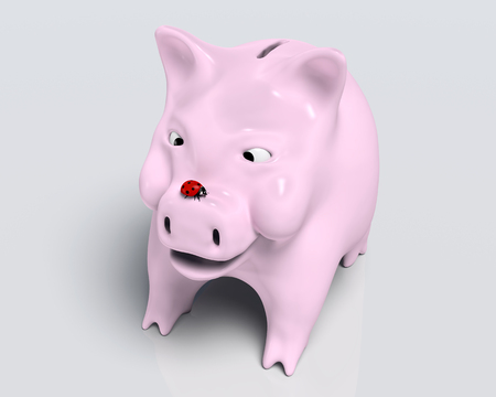 closeup of a smiling piggy bank that watches a red ladybird which stands on top of its nose, on a neutral background