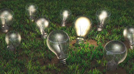 some light bulbs with different size are growing as ideas on a grassy soil like plants, only one of them is turned on and is emitting a yellow light