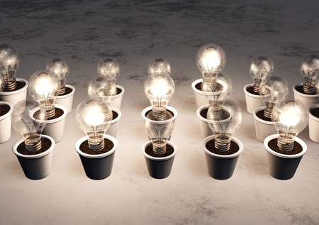 rows of light bulbs with different sizes in white pots lie on a white and gray abstract ground, some light bulbs are lit randomly with a white light Stock Photo