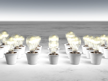 rows of light bulbs with cold light and with different sizes are growing in white pots that lie on a white and gray abstract ground
