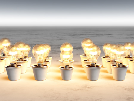 rows of light bulbs with warm light and with different sizes are growing in white pots that lie on a white and gray abstract ground