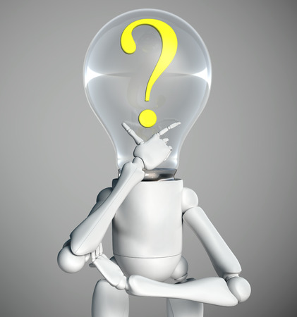 half-length of a standing lamp character that has a yellow question mark inside his bulb light switched off and has his right hand under his chin how to think to solve a problem, on a grey background Stock Photo