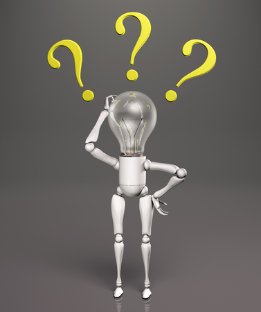perplexity: a standing lamp character scratches his bulb light switched off with his right hand and has three yellow questions marks around his head, on a dark background