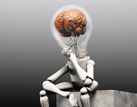 a lamp character with a human brain into his bulb light is sitting on squared stone and has his left hand under his chin how to think to solve a problem, on a dark grey background Stock Photo
