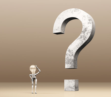 a lamp character is watching a big upright question mark made of stone while scratches his head with the right hand as demonstration of perplexity, on a brown cream background photo